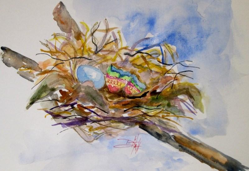 """""""Easter Egg Nest"""" original fine art by Delilah Smith"""
