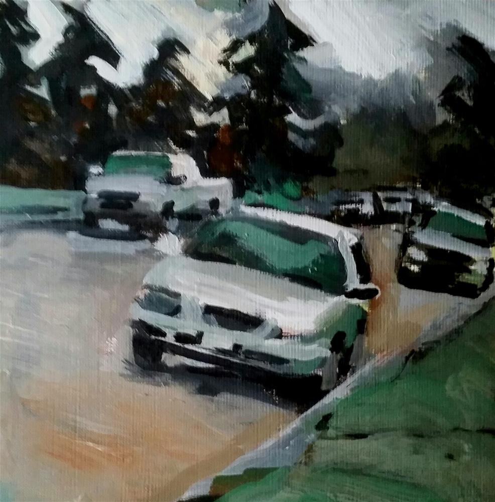 """ Fog Through Pines on Park St."" original fine art by Liz Maynes"