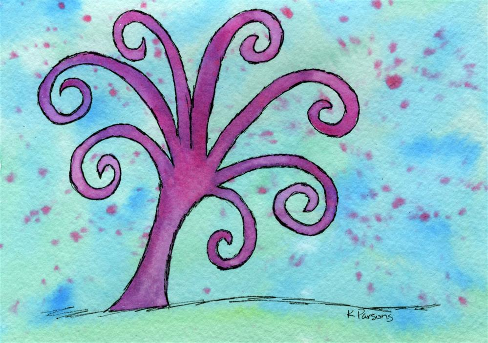 """Pink and Curly"" original fine art by Kali Parsons"