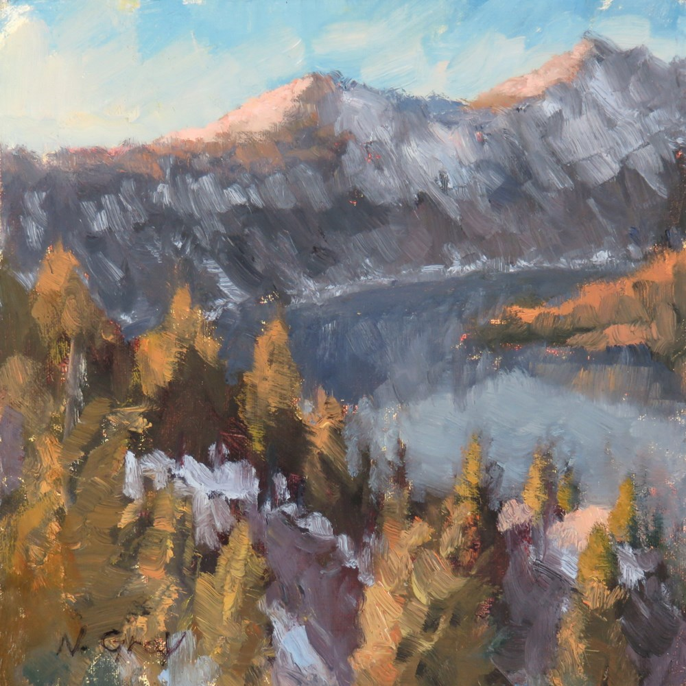 """Springtime Sunset at Crater Lake"" original fine art by Naomi Gray"