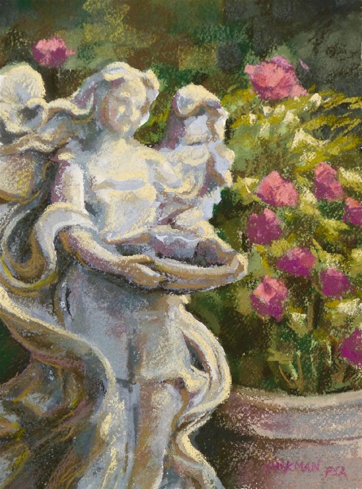 """Garden Angel (my DPW Challenge- 2cd painting)"" original fine art by Rita Kirkman"