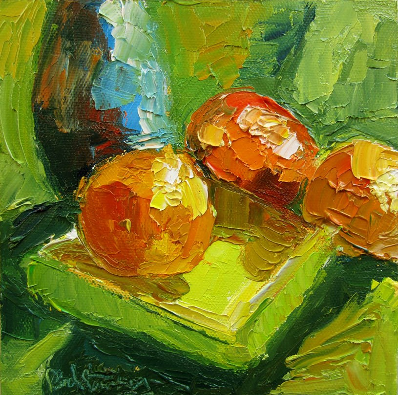 """3 Clementines, Small Asian Vase"" original fine art by Carol Steinberg"