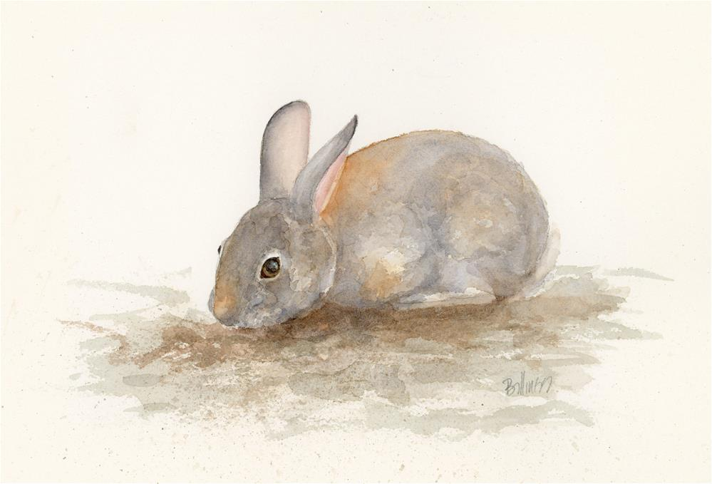 """A Cottontail Study V"" original fine art by Susanne Billings"