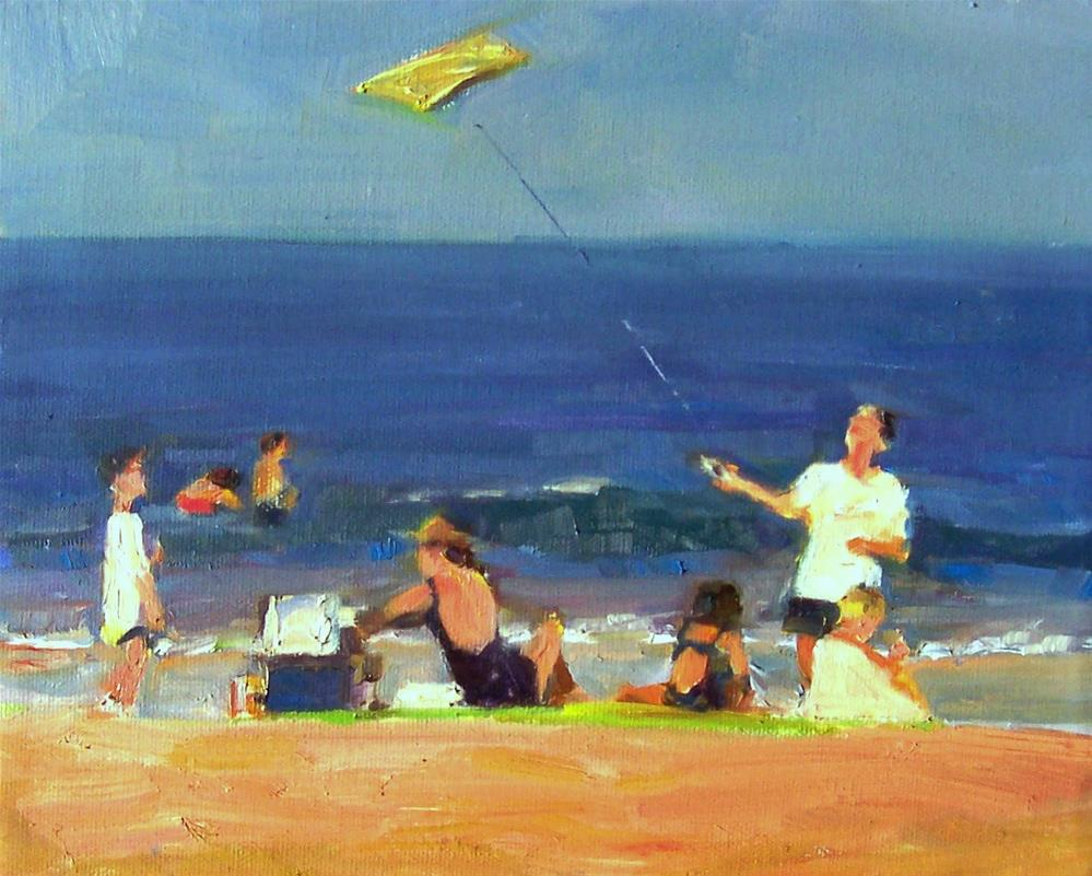 """Family Sea Side,sea scape,oil on canvas,8x10,price$400"" original fine art by Joy Olney"