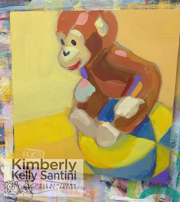 """Curious George"" original fine art by Kimberly Santini"