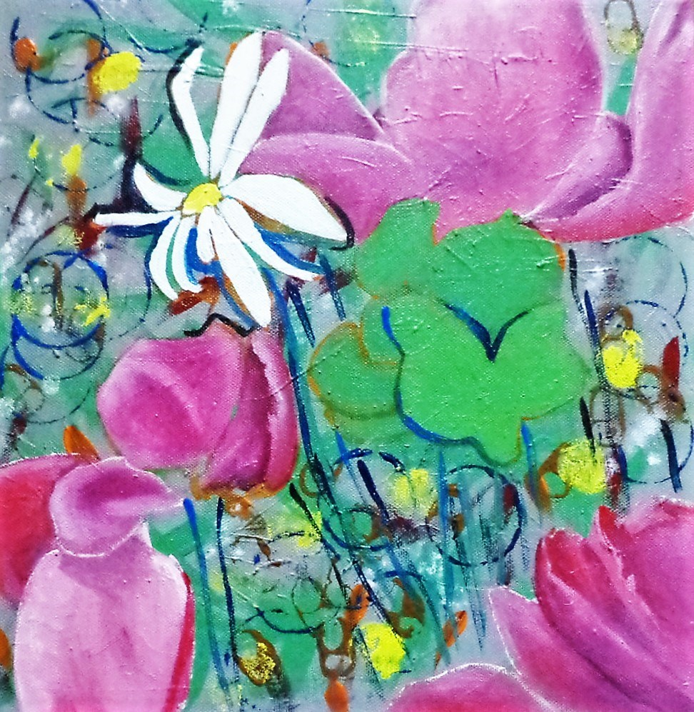 """Kitchen Flowers"" original fine art by tara stephanos"