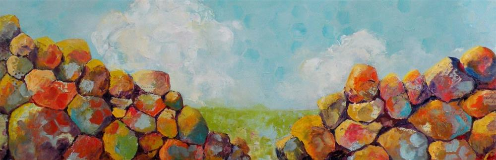 """ROCKS AND CLOUDS MIXED MEDIA LANDSCAPE © SAUNDRA LANE GALLOWAY"" original fine art by Saundra Lane Galloway"