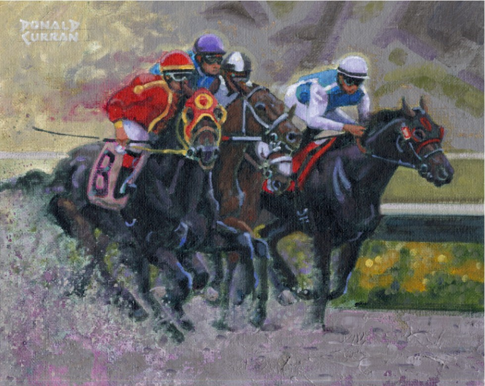 """Down the Stretch"" original fine art by Donald Curran"