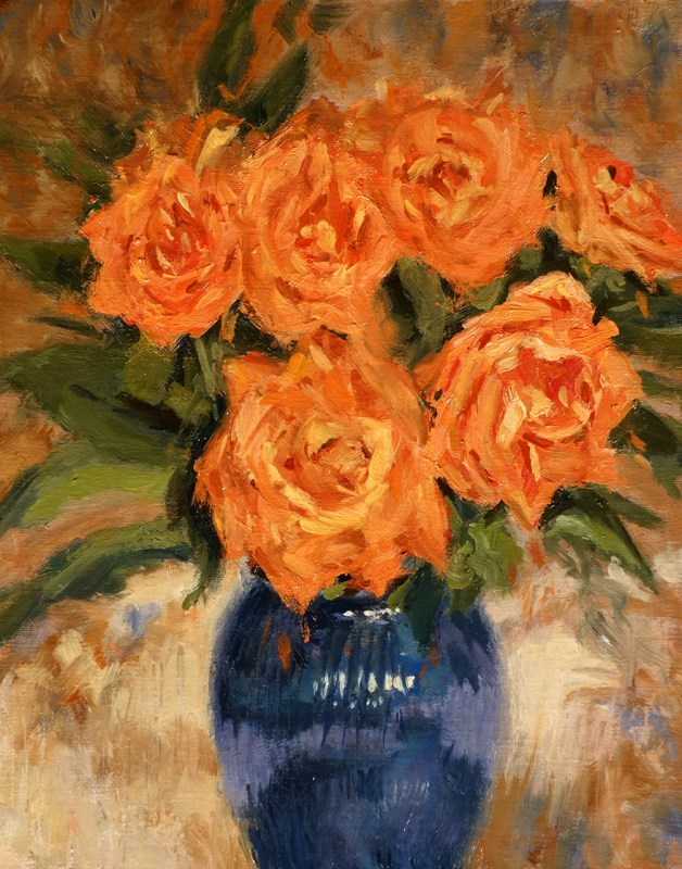 """Peach Roses and Vase"" original fine art by Daniel Fishback"