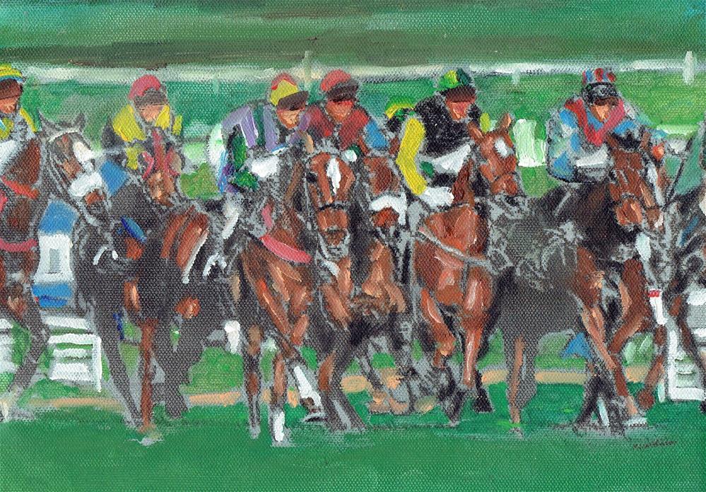 """The Race (8 x 10 oil on canvas sheet - no frame)"" original fine art by Ramon DelRosario"