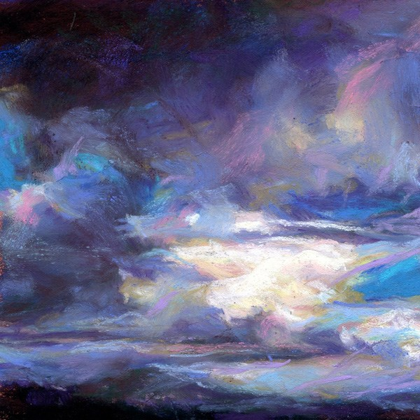 """DARK WAS THE DAY - 4 1/2 x 4 1/2 sky pastel by Susan Roden"" original fine art by Susan Roden"