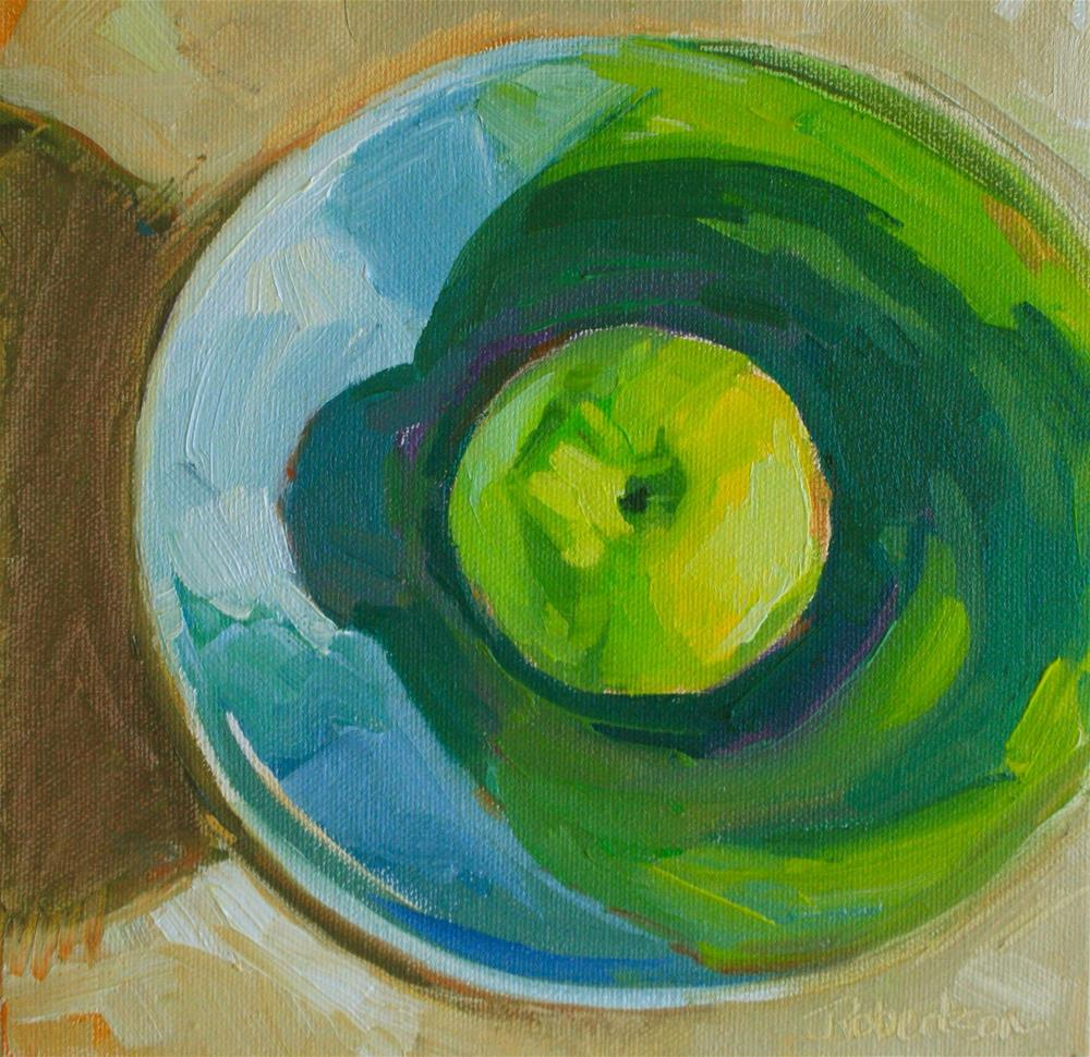 """Green Apple in Pewter Bowl"" original fine art by Jane Robertson"