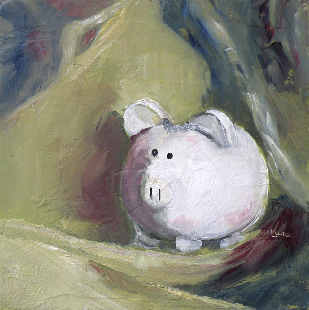 """LITTLE WHITE PIGGY ORIGINAL OIL ON TEXTURED PANEL © SAUNDRA LANE GALLOWAY"" original fine art by Saundra Lane Galloway"