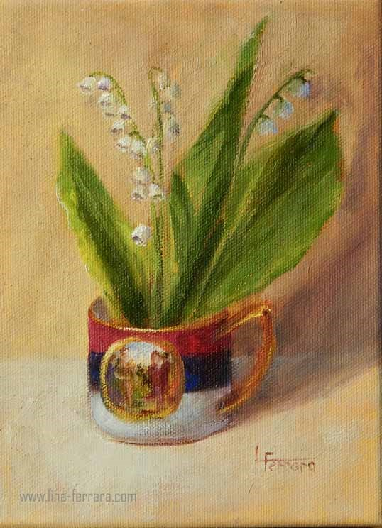 """Cup of Lilies"" original fine art by Lina Ferrara"