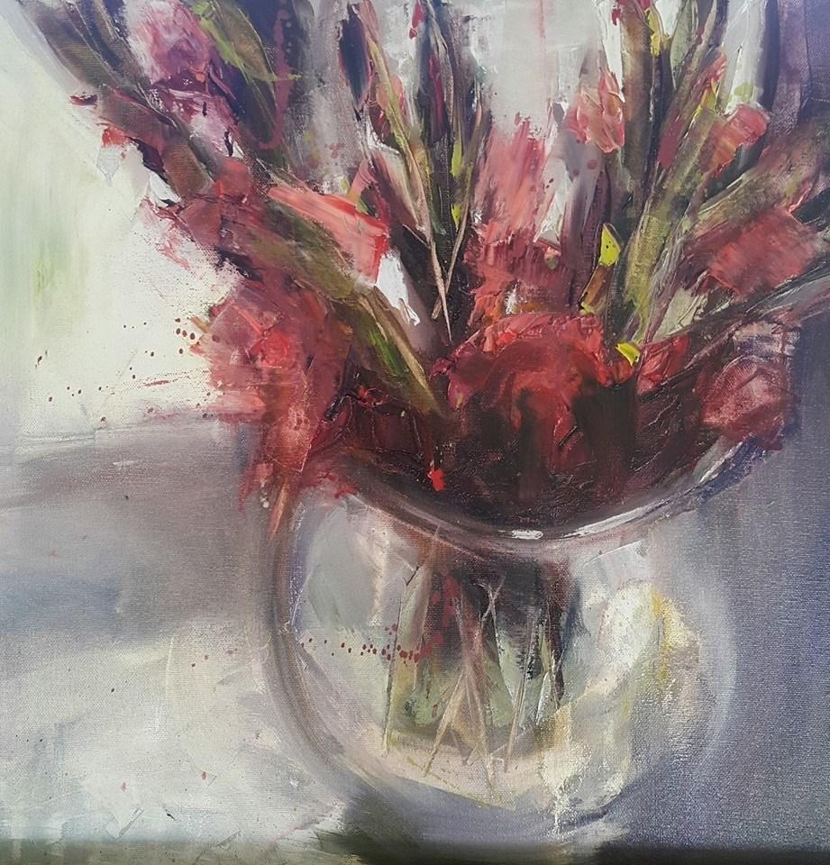 """""""Gladiolus"""" original fine art by Rentia Coetzee"""