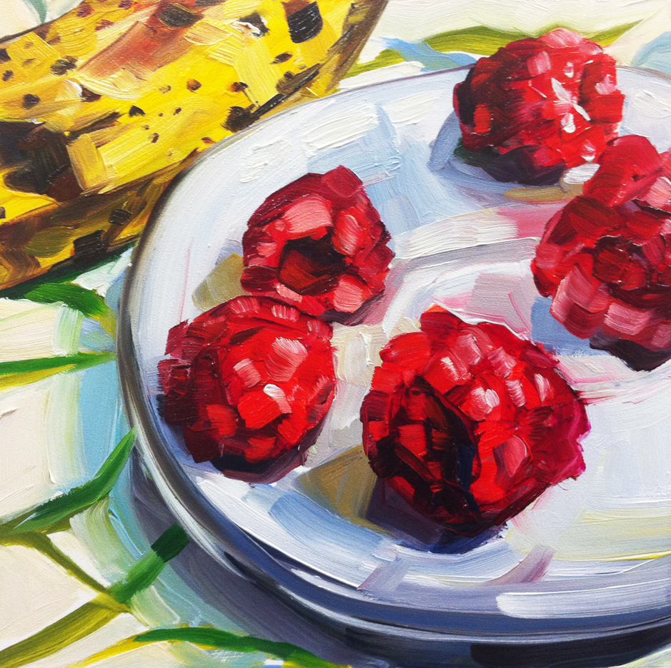 """Raspberries and Banana"" original fine art by Katy O'Connor"