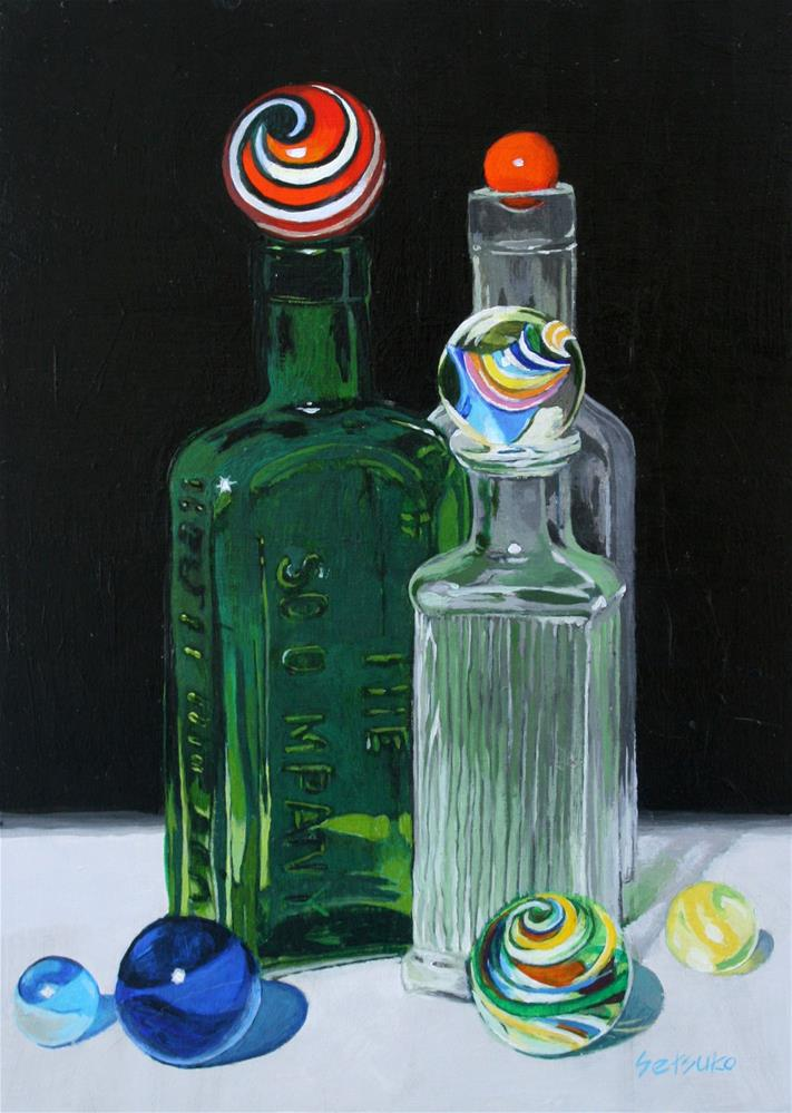 """Three Bottles and marbles"" original fine art by Setsuko Lawson"