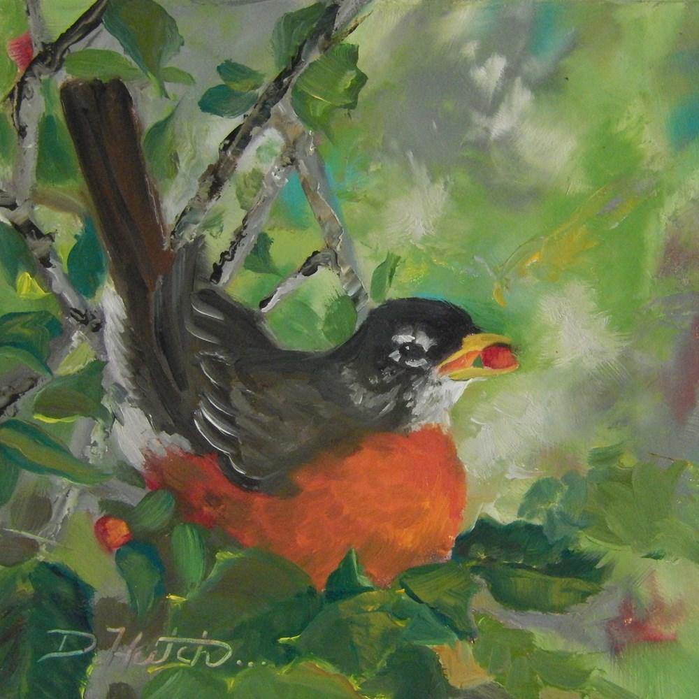 """Robin 2"" original fine art by Diane Hutchinson"