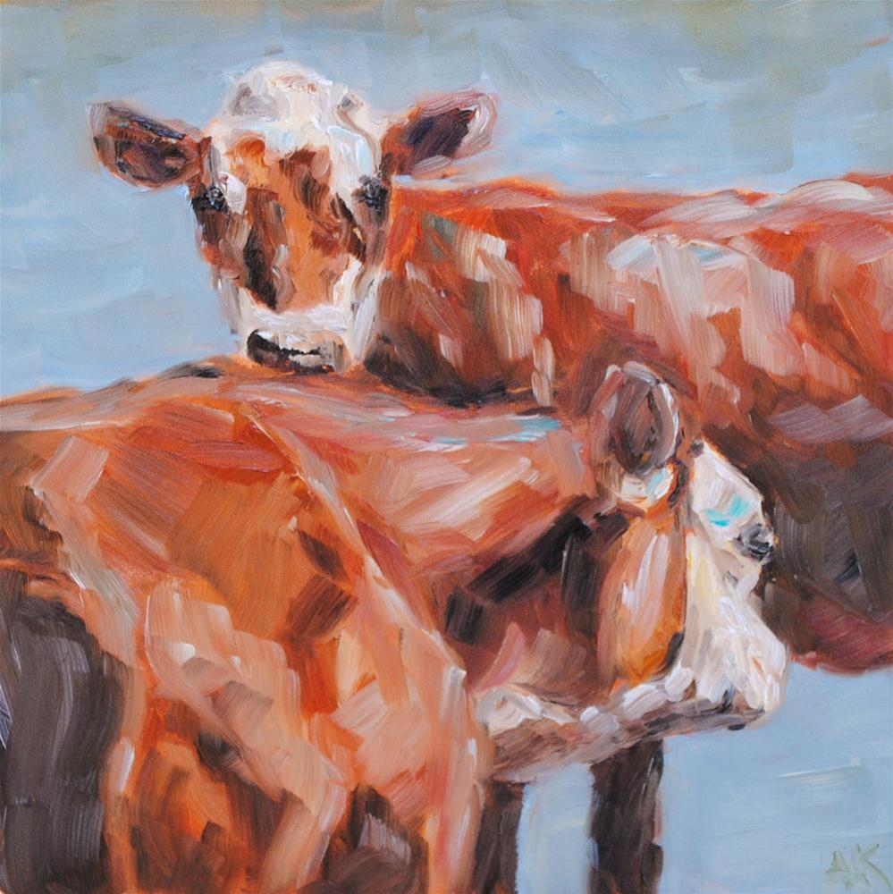 """Two Cows"" original fine art by Alison Kolkebeck"