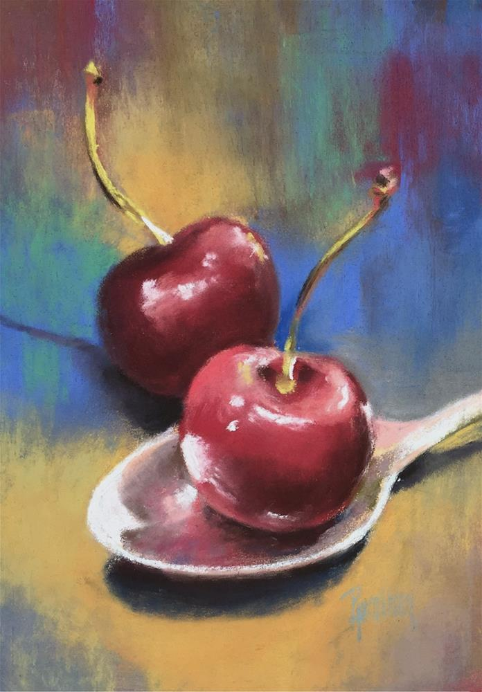 """Cherries I"" original fine art by Pamela Hamilton"