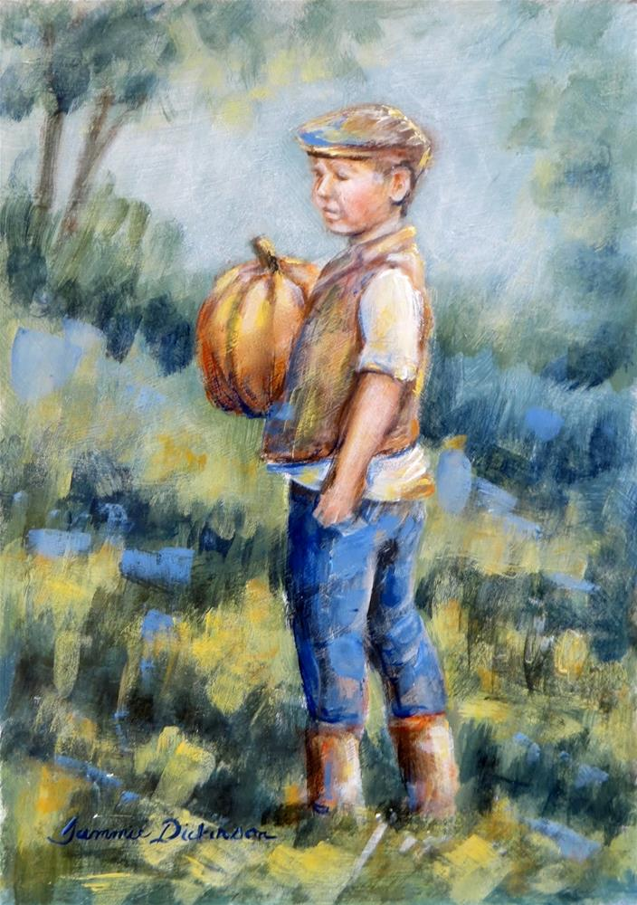 """Pumpkin Boy"" original fine art by Tammie Dickerson"