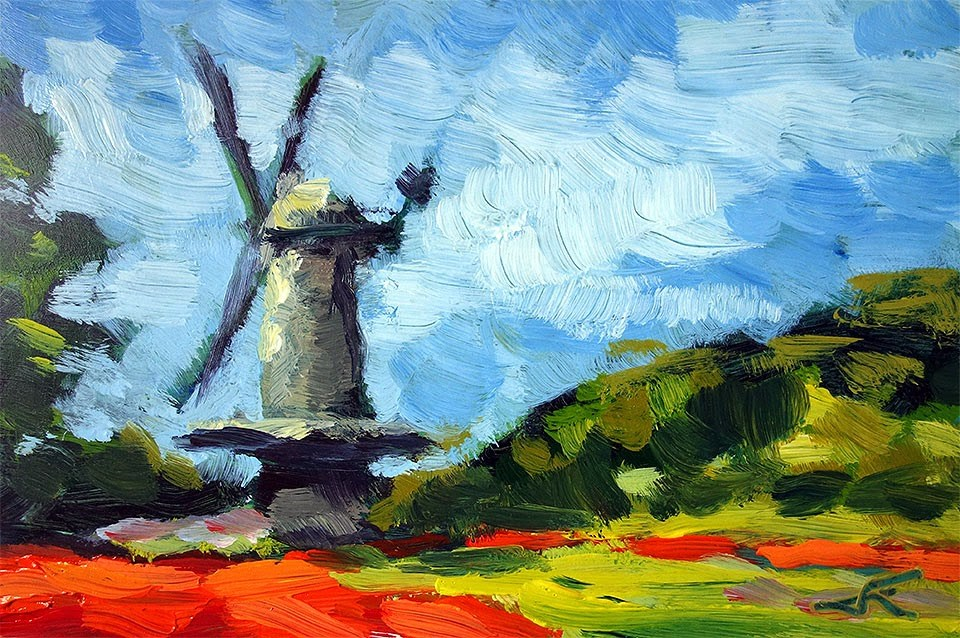 """Windmill"" original fine art by J. Farnsworth"