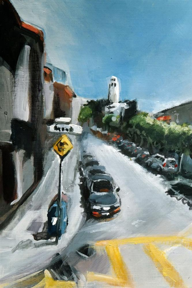 """1655 Grant St. with Coit Tower"" original fine art by Dietmar Stiller"