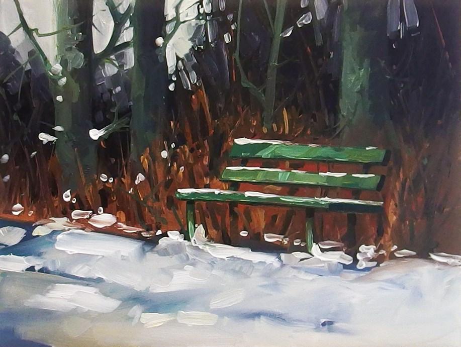 """No 839 Winter Seating"" original fine art by Robin J Mitchell"