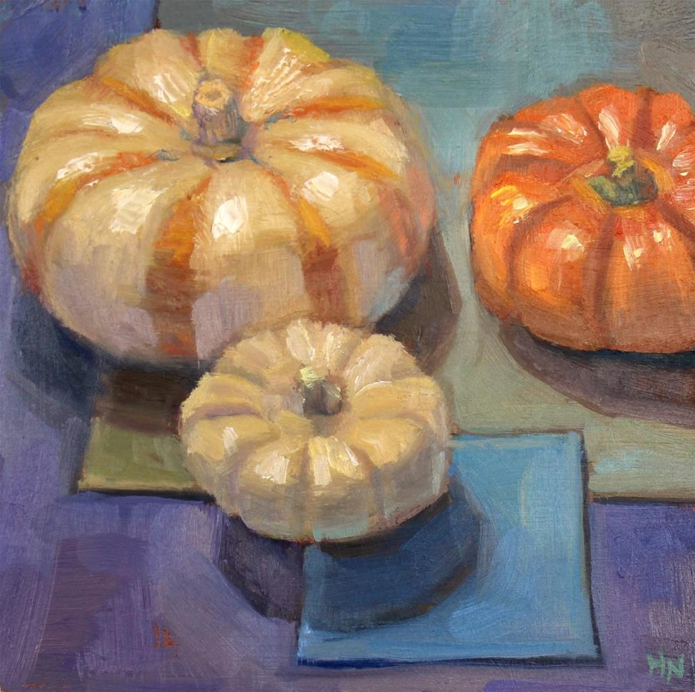 """Three Pumpkins"" original fine art by Heather Nibert"