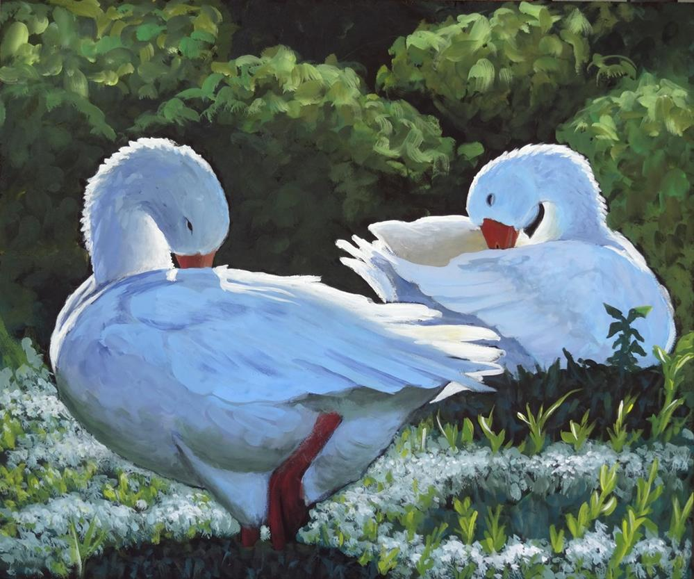 """Preening"" original fine art by Ande Hall"
