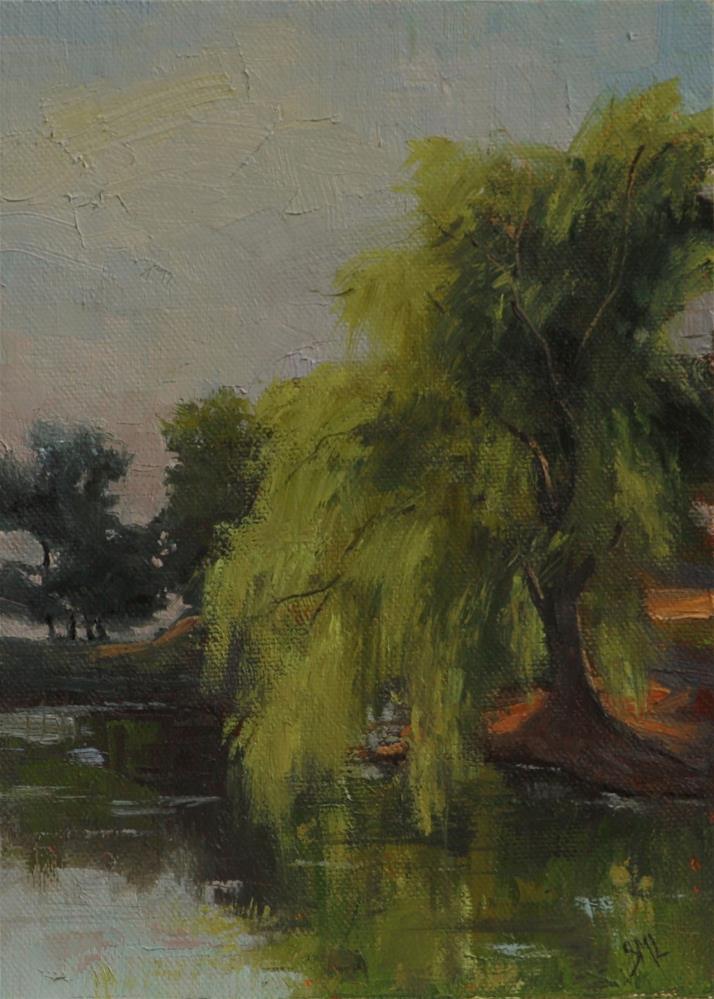 """Weeping Willow at Kountz Lake"" original fine art by Sheila Marie"