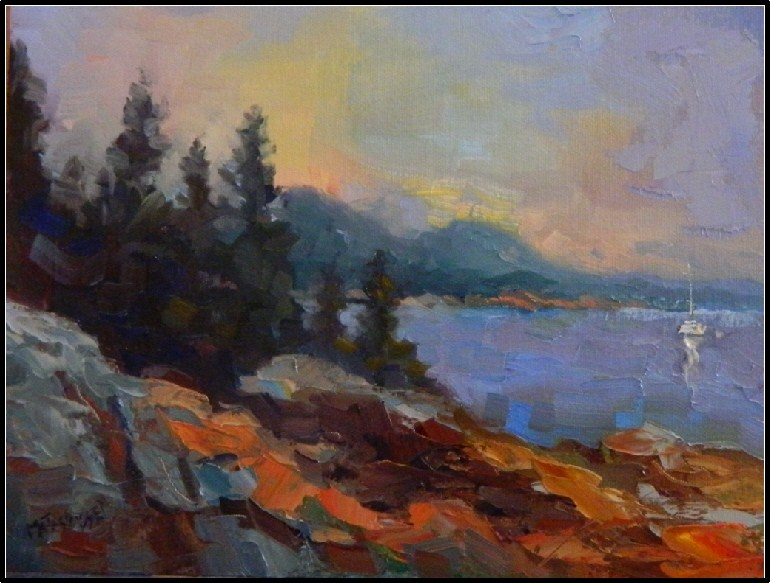 """Acadian Morning"", 9x12, oil on Raymar panel, Acadia Nat'l PArk, Cadillac Mountain, Maine landscapes original fine art by Maryanne Jacobsen"