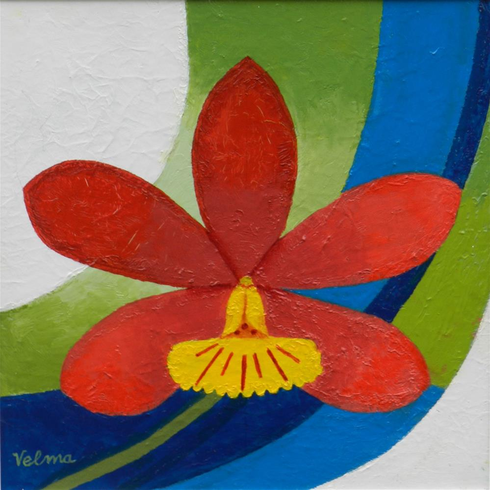 """Red Orchid"" original fine art by Velma Davies"