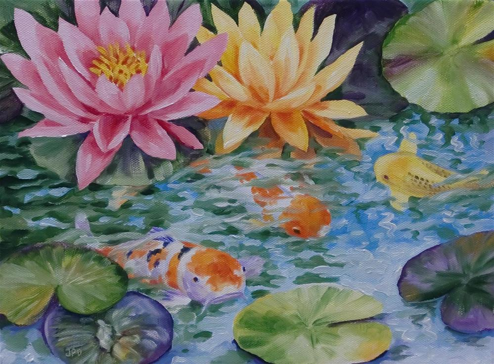 """Kois and Water Lilies"" original fine art by Jean Pierre DeBernay"