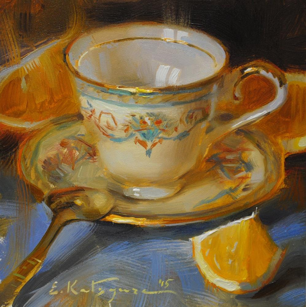 """Gold-Rimmed Teacup"" original fine art by Elena Katsyura"