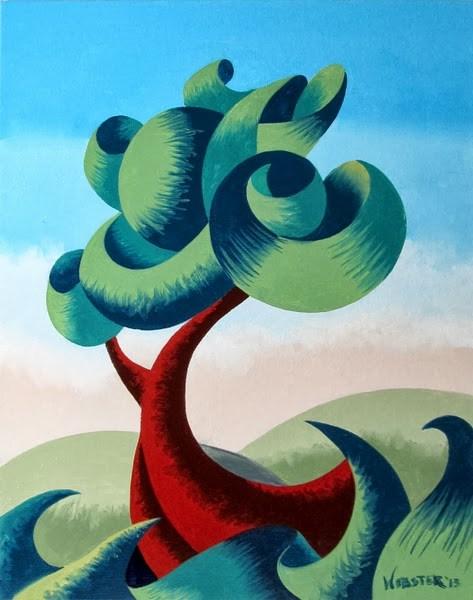 """Mark Webster - Abstract Geometric Futurist Landscape Oil Painting 13.10.2"" original fine art by Mark Webster"