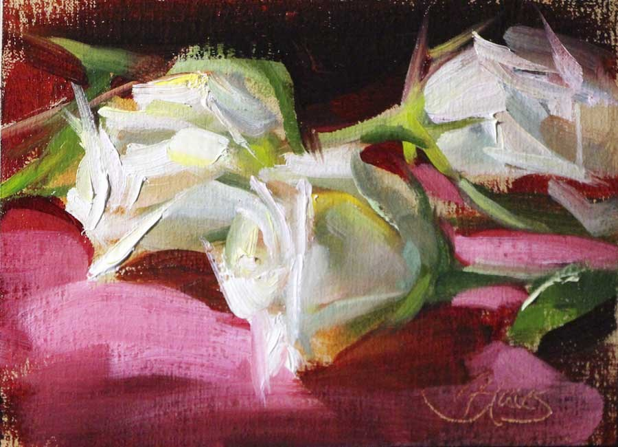 """Roses on Red Study"" original fine art by Pamela Blaies"
