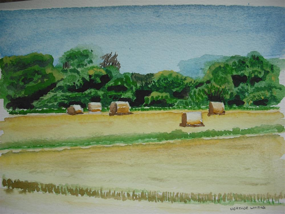 """Straw Bales On Stubble (2)"" original fine art by Heather Whiting"