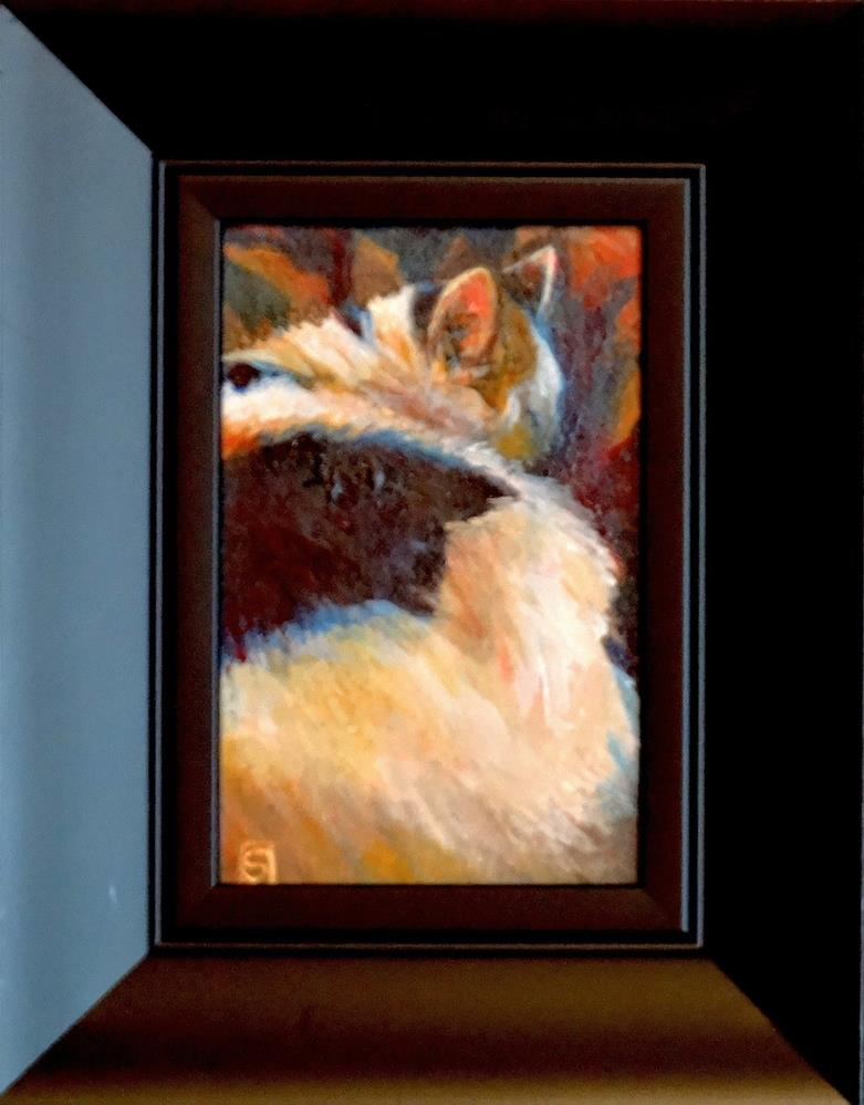 """4120 - Framed - Poppy - Pal Portrait - Blk Frame"" original fine art by Sea Dean"