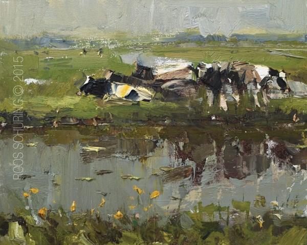 """Landscape Cows in Spring – Koeien"" original fine art by Roos Schuring"