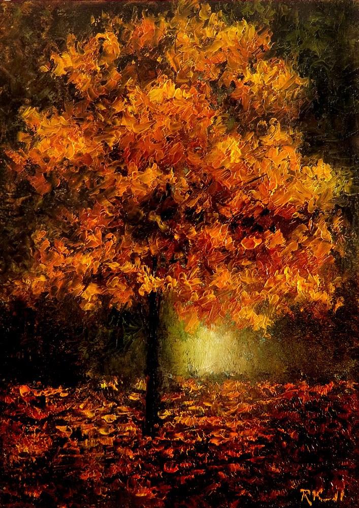 """Auburn Autumn Tree"" original fine art by Bob Kimball"