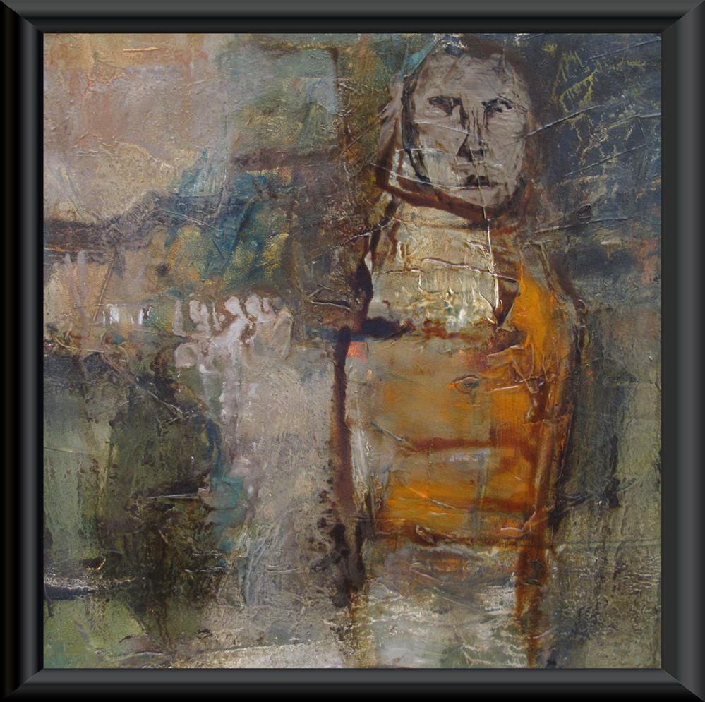 """THE PILGRIMAGE Original ABSTRACT FIGURE PORTAIT 6X6 Art Painting OIL"" original fine art by Colette Davis"