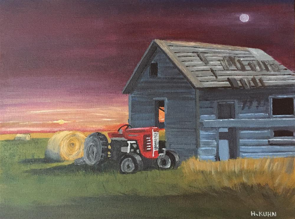 """Sunset Barn"" original fine art by Helen Kuhn"