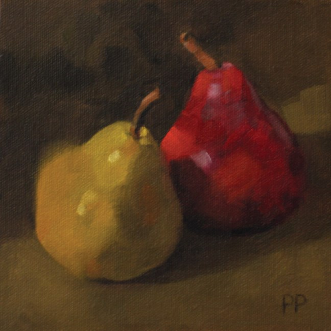 """Colorful Pears"" original fine art by Pamela Poll"