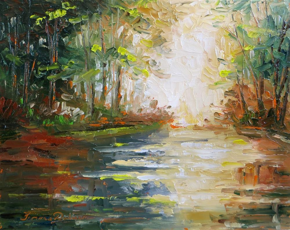 """Wooded Lake in Palette Knife"" original fine art by Tammie Dickerson"