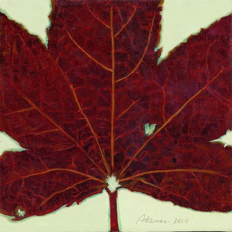 """Autumn Leaf #6 (Red Leaf)"" original fine art by Carol L Adamec"