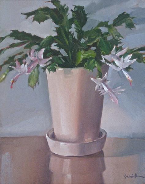 """""""White Christmas Cactus"""" original fine art by Sarah Sedwick"""