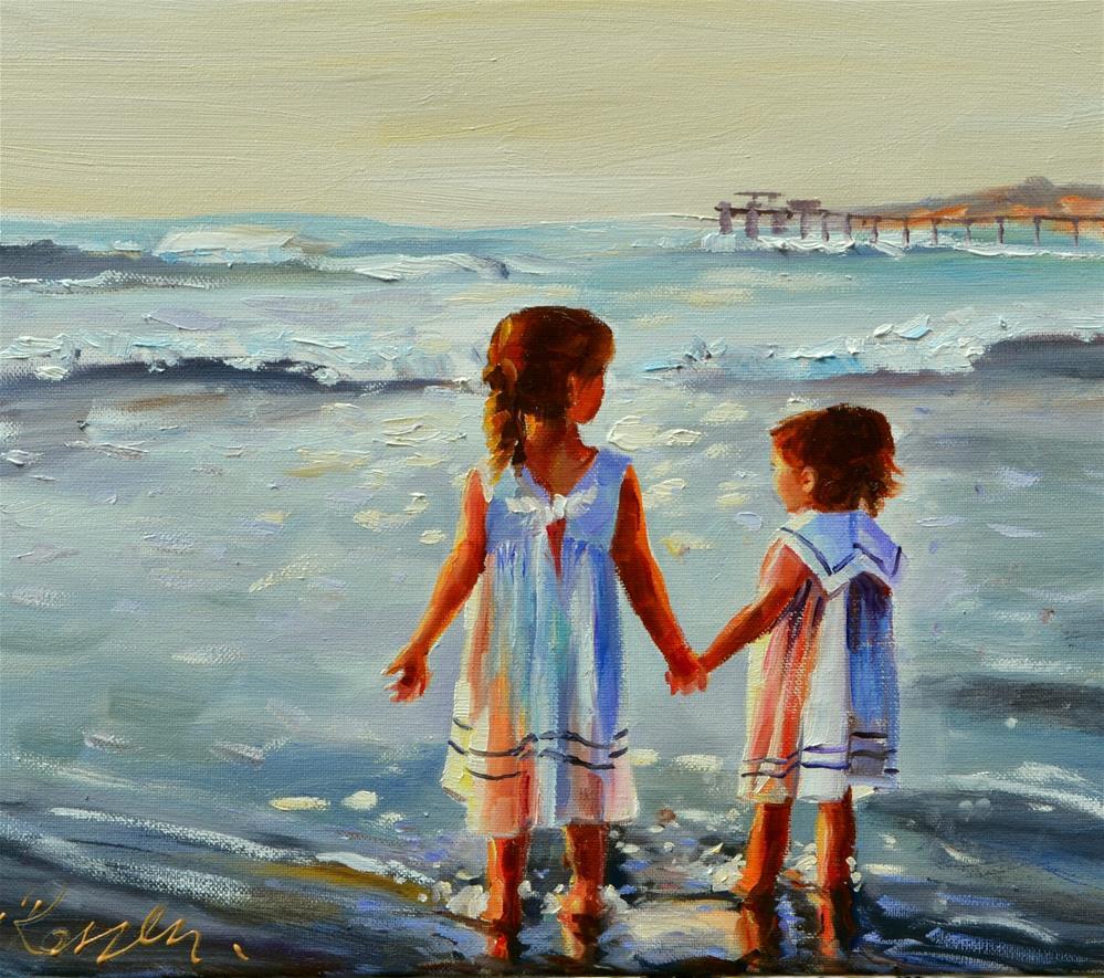 """LITTLE GIRLS ON BEACH"" original fine art by Cecilia Rosslee"