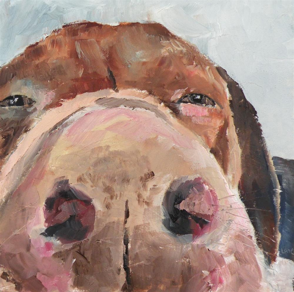 """CLOSE UP PUP ORIGINAL OIL 4X4 MINI ON SLIGHTLY TEXTURED PANEL © SAUNDRA LANE GALLOWAY"" original fine art by Saundra Lane Galloway"