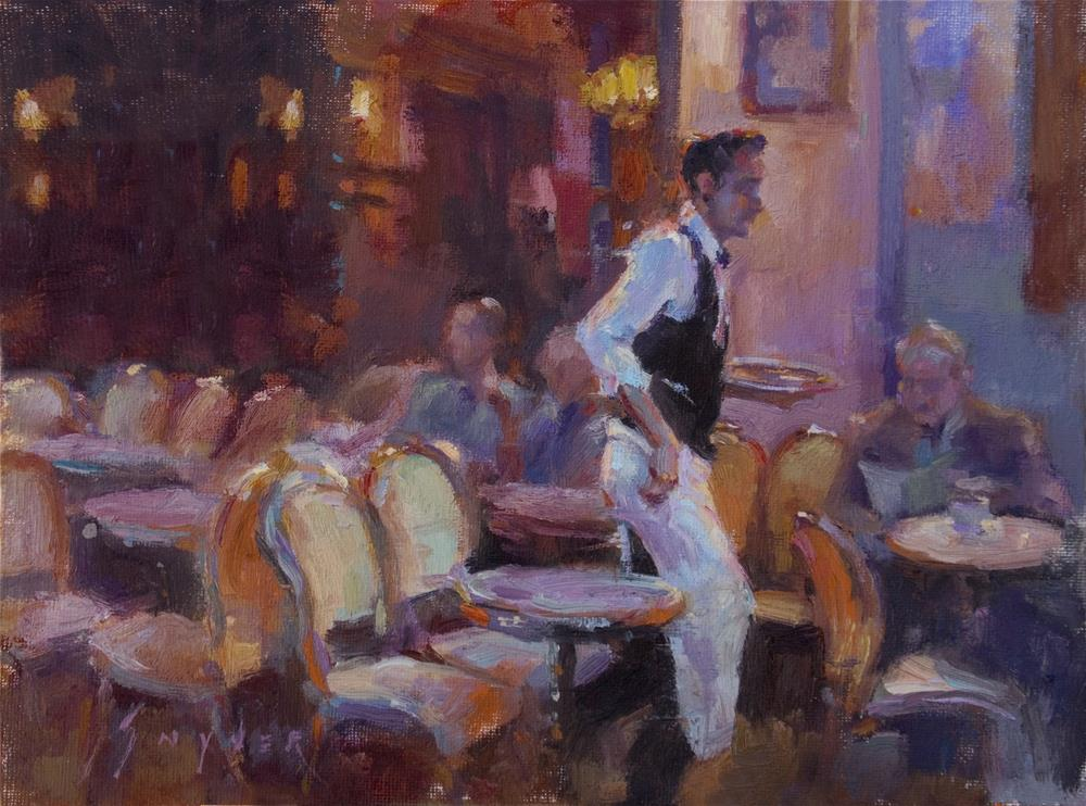 """Café La Nuit"" original fine art by Julie Snyder"